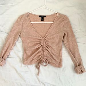 Baby pink marl ruched long sleeve